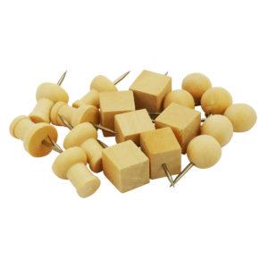 Puntine con la testa di legno in 3 forme