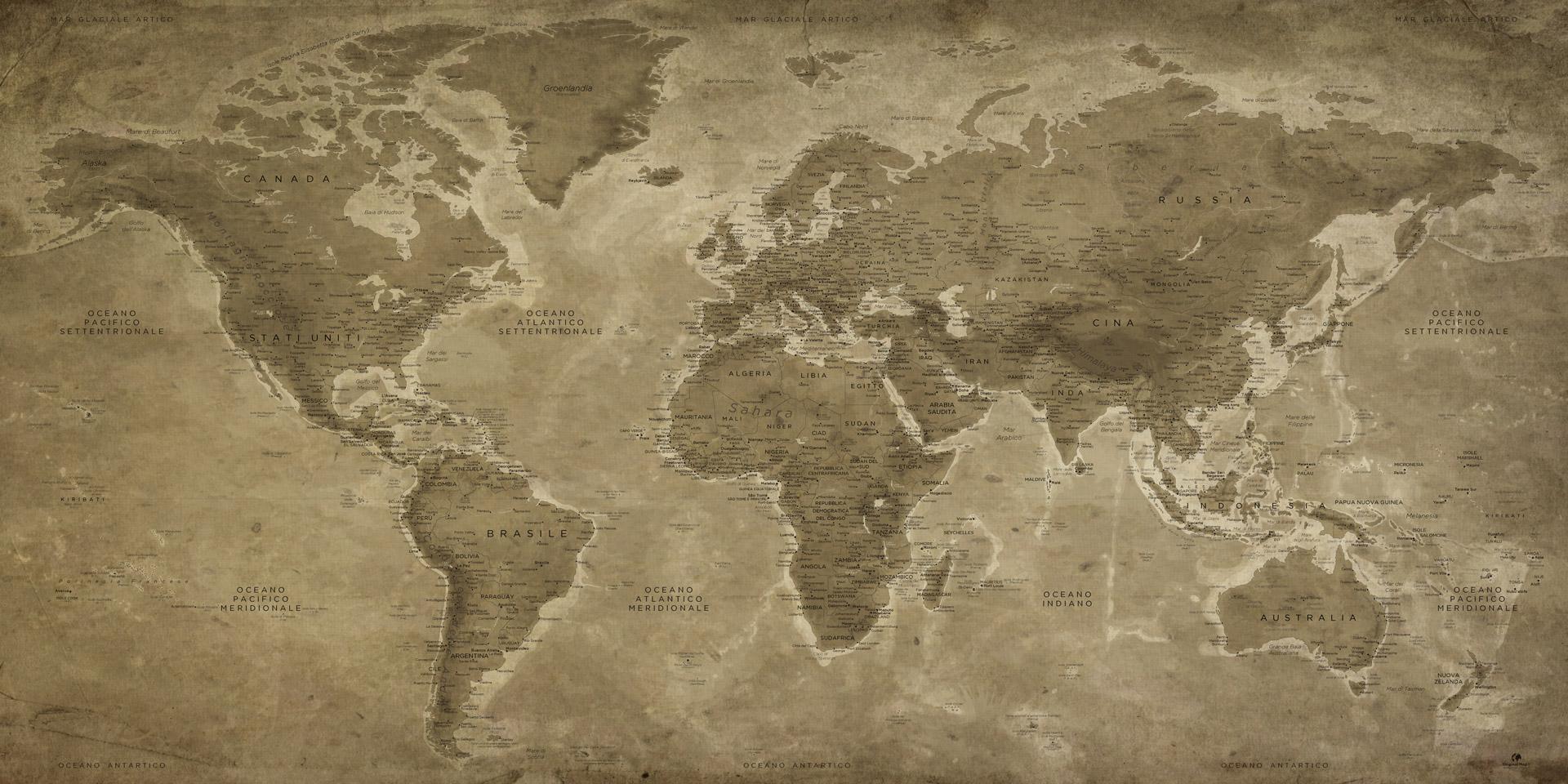 Cartina Del Mondo On Line.Mappa Del Mondo Vintage Tavola In Stile Antico Decorazione Da Muro