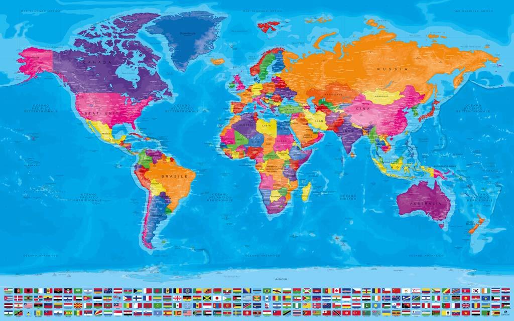 Cartina Mondo Con Bandiere.Mappe Del Mondo