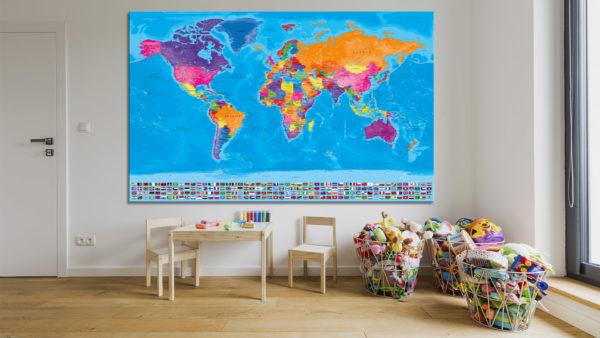 Cartina Mondo Con Bandiere.Mappa Del Mondo Completa Di Bandiere Mappa Con Bandiere